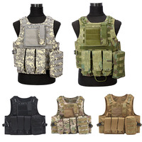 2018 Newest 5 Body Molle Armor Hunting Vest CS Outdoor Accessories Colors Camouflage Hunting Military Tactical Vest Wargame