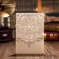 100pcs Vertical Gold Classic Style Wedding Invitations Cards Custom With Rhinestone Laser Cut Flower CW5010