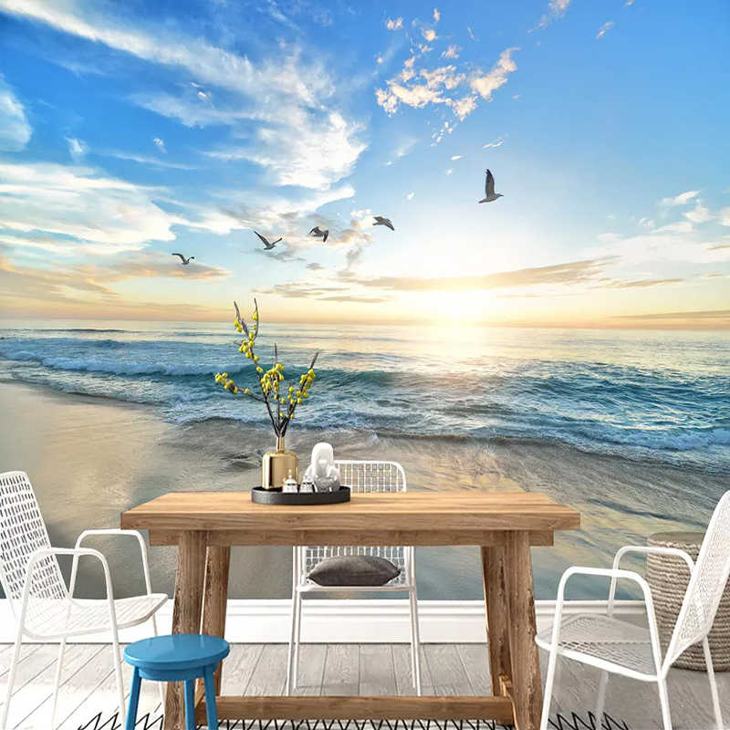 Custom Photo Wallpaper 3D Seagull Blue Sky White Clouds Sea Landscape Wall Mural Living Room Sofa Bedroom Wall Papers Home Decor