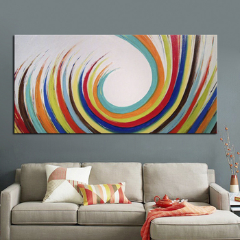 Hand Painted Home Hotel Decorative Picture Modern Abstract Art Paintings on Canvas Unframed 24x48 Inch Abstract Oil Paintings
