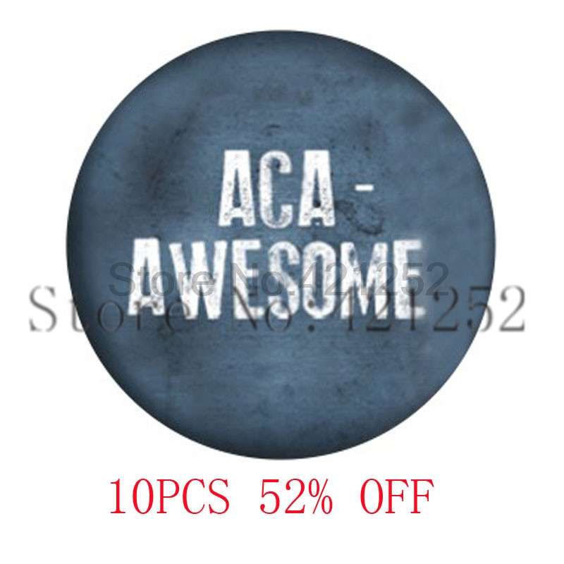 Aca-Awesome Pitch Perfect Inspired Glass Photo Cabochon Necklace keyring bookmark cuffli ...