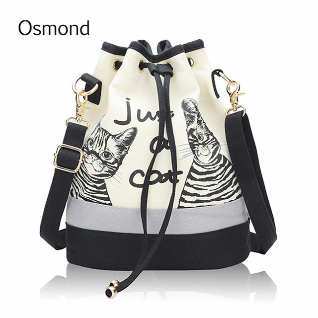 Aliexpress.com : Buy Osmond Women Cute Cat Bucket Bag Canvas ...