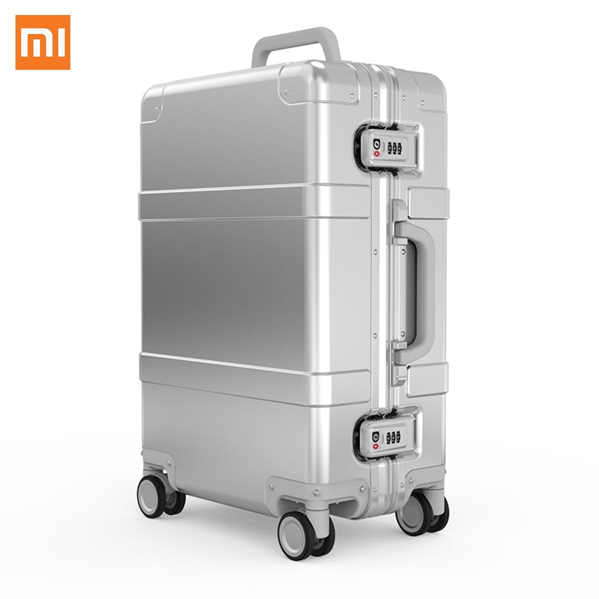Xiaomi 90FUN Liga De Alumínio Mala de Viagem do Metal Bagagem 20 Polegada Carry on Spinner Roda bluetooth Apoio App Controle Desbloqueio