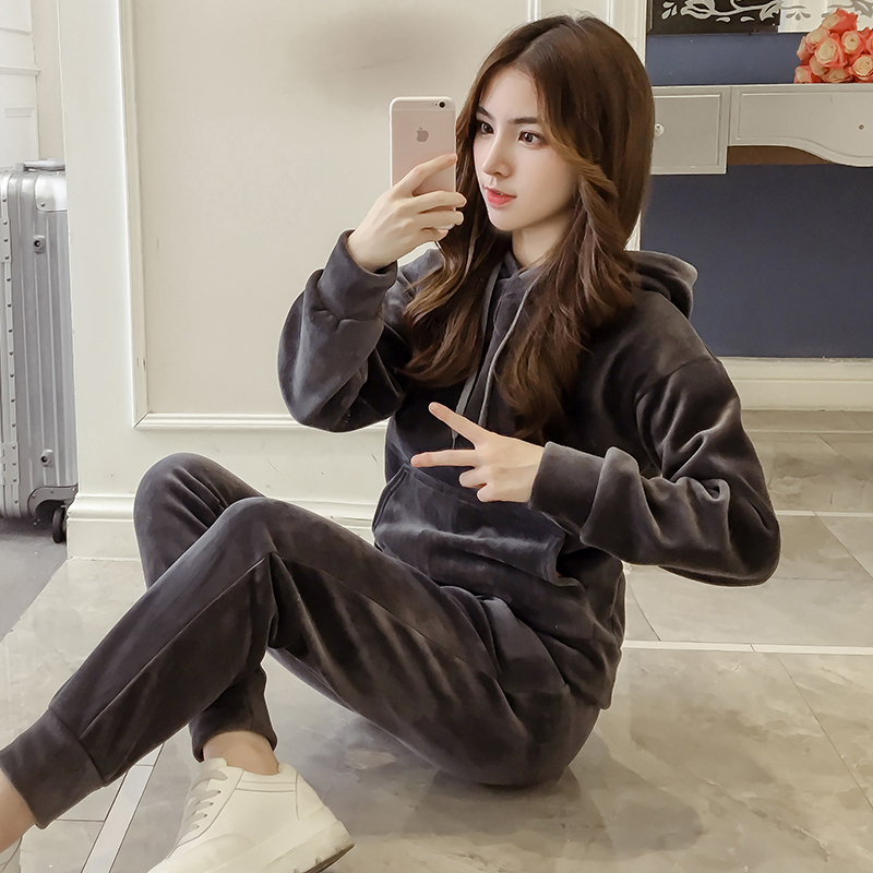 Velvet Tracksuit Two Piece Set Women Sexy Hooded Grey Long Sleeve Top And Pants Bodysuit Suit Runway Fashion 18 Black D79101 8