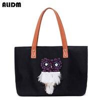Famous Brand Handmade Owl Pattern Women Nylon Bag Femme Large Capacity Tote Bags 2017 New Fashion