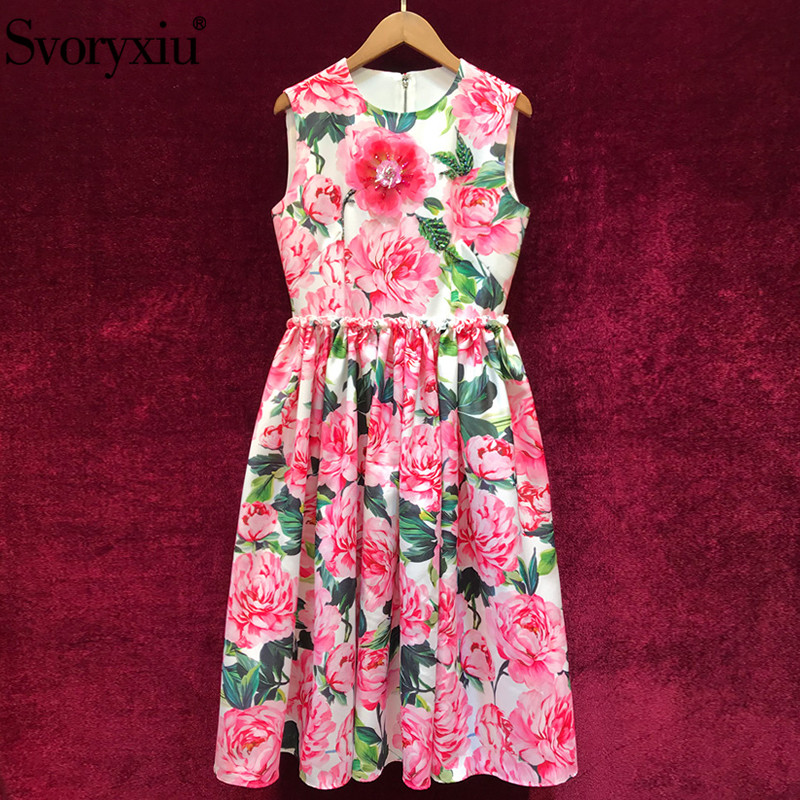 Svoryxiu Women's Summer Runway Tank Midi Dress Fashion Beading Appliques Peony Flower Printed Holiday Party Dresses Female 2019-in Dresses from Women's Clothing    1