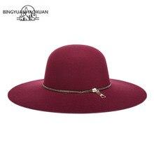 BINGYUANHAOXUAN 2018 Women Autumn Wide Wool Edge Hats Ladies Spring Floppy Felt Big Caps Winter Felted Cap