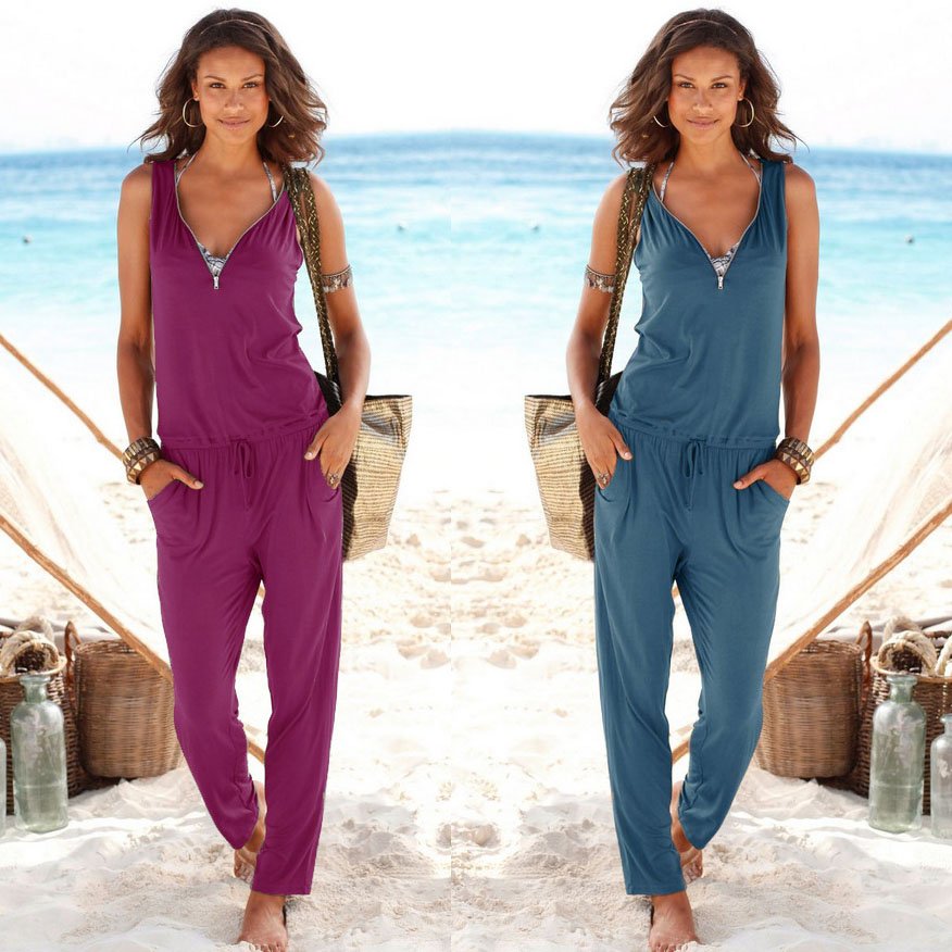 Sexy Sleeveless jumpsuit women long romper 2019 summer women lady Fashion trousers beach jumpsuit coveralls sexy female frock