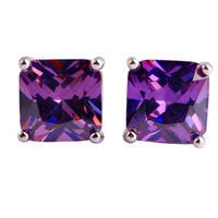 JROSE Retro Art Deco Princess Cut Amethyst Silver Stud Earrings Free Shipping Wholesale Fashion Wedding Engagement Jewelry