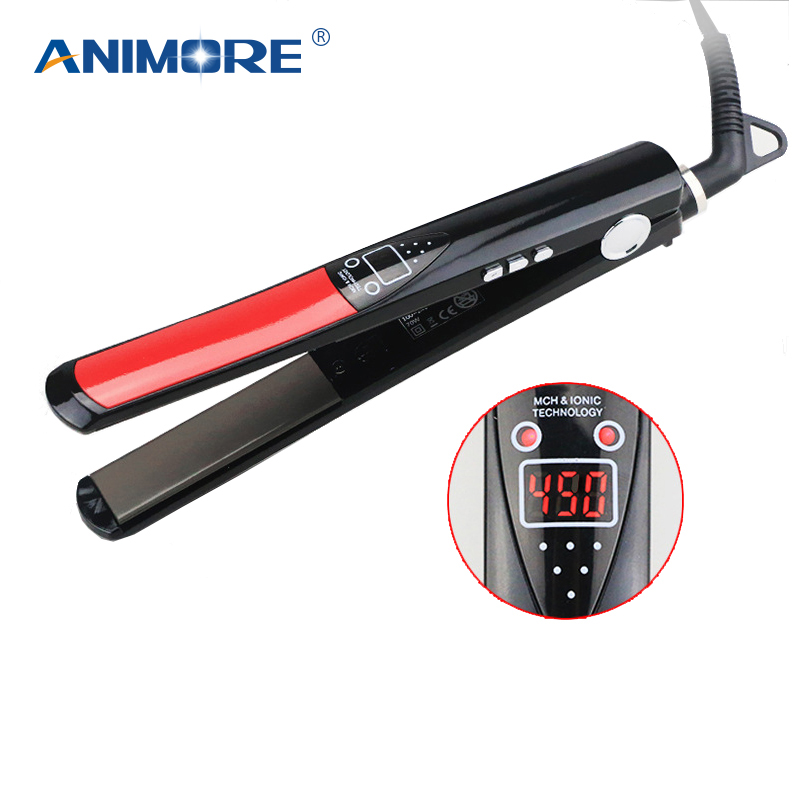 ANIMORE LCD Display Straightening Irons Titanium Plates Flat Iron Styling Tools Professional Hair Straightener SI-05 professional hair straightener lcd display titanium ceramic plates flat iron straightening irons fast heating styling tools