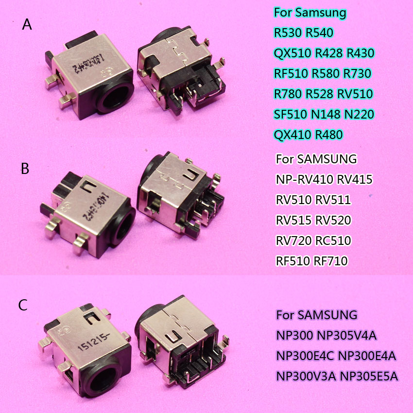 YuXi 2pcs DC Power Jack Connector For Samsung RV411 RV515 RV420 RC512 RV511 RV510 RV509 RV515 R530 R540 QX510 R428 R430 NP300