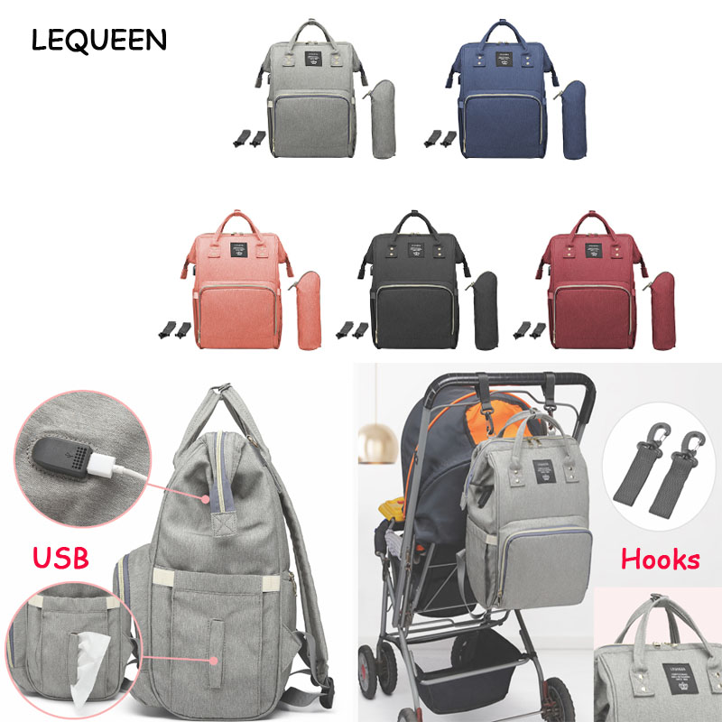 LEQUEEN USB Maternity Waterproof Diaper Bag USB Charging Large Mummy Nursing Backpacks Nappy Bag Brand Bolsa Maternidade