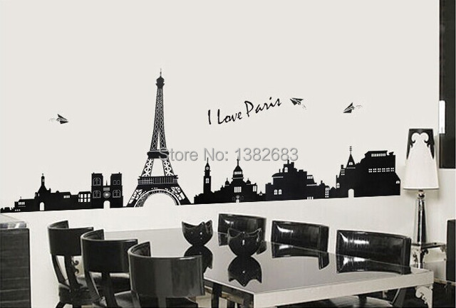 Free Shipping Paris Art Decals Eiffel Tower Diy Removable Wall Stickers Parlor Kid Bedroom Home Decor