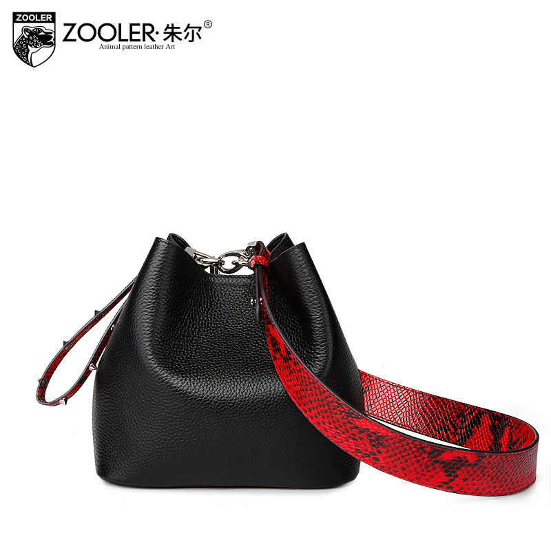 ZOOLER Women Genuine Leather Bucket Tote Bag Female 2018 New Spring Leisure Messenger Bags Fashion Handbags Small Shoulder Bag zooler genuine leather genuine real cowhide small handbags high quality brand women plaid shoulder bags chain tote crossbody bag