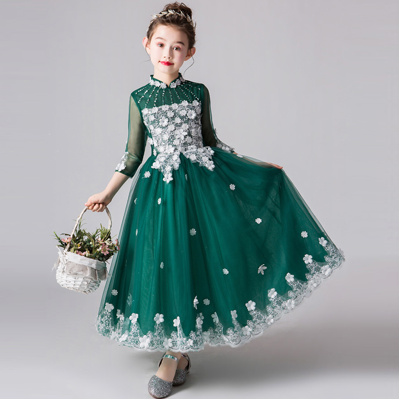 Chinese Style Children Girls Luxury New Appliques Flowers Green Birthday Evening Party Dress Kids Model Show Piano Costume Dress