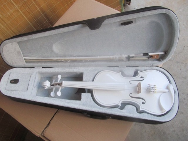 White violin handmade violin solid wood handmade new solid maple wood brown acoustic violin violino 4 4 electric violin case bow included