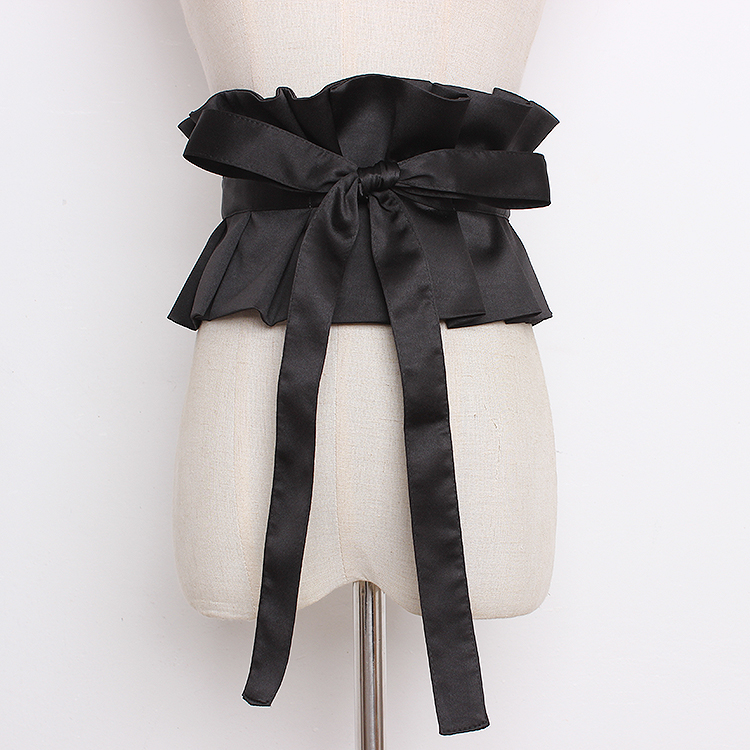 Women's Runway Fashion Pleated Black Satin Cummerbunds Female Dress Corsets Waistband Belts Bow Decoration Wide Belt R1322