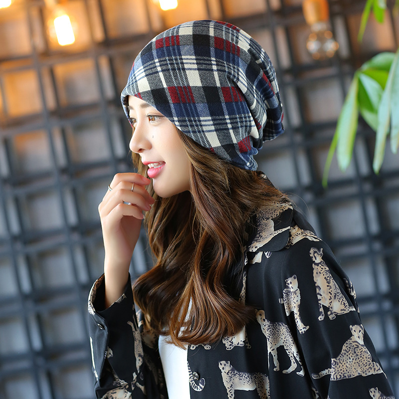 multi plaid femme skullies unisex autumn beanies winter warm chapeau women hat female knitted cap ladies bonnet skullies