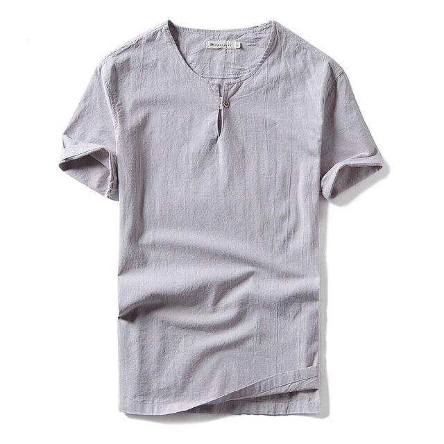 New Design Summer Linen T Shirt Men Straight Type Fashion Casual Men T Shirt