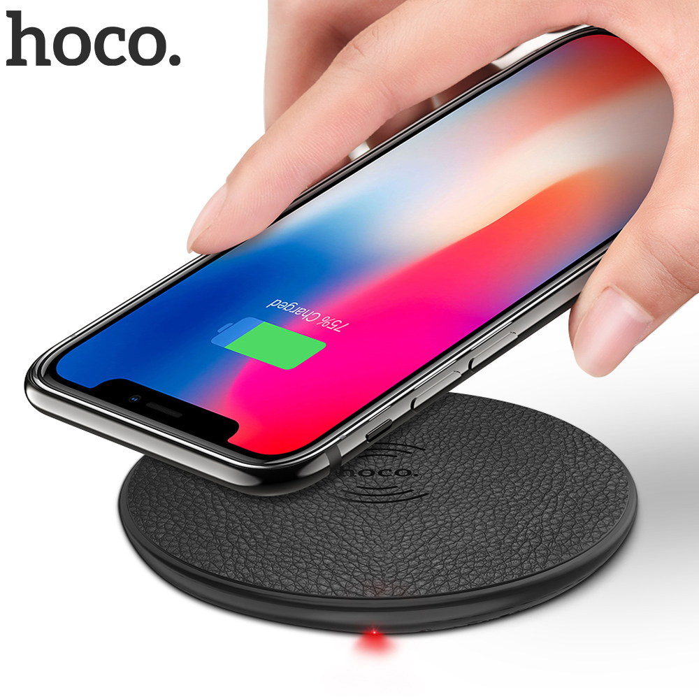 HOCO Wireless Charger for iPhone X XR Xs 8 Qi Wireless Charging Pad for Samsung S9 S8 Plus Xiaomi Mi 9 USB Mobile Phone Charger(China)