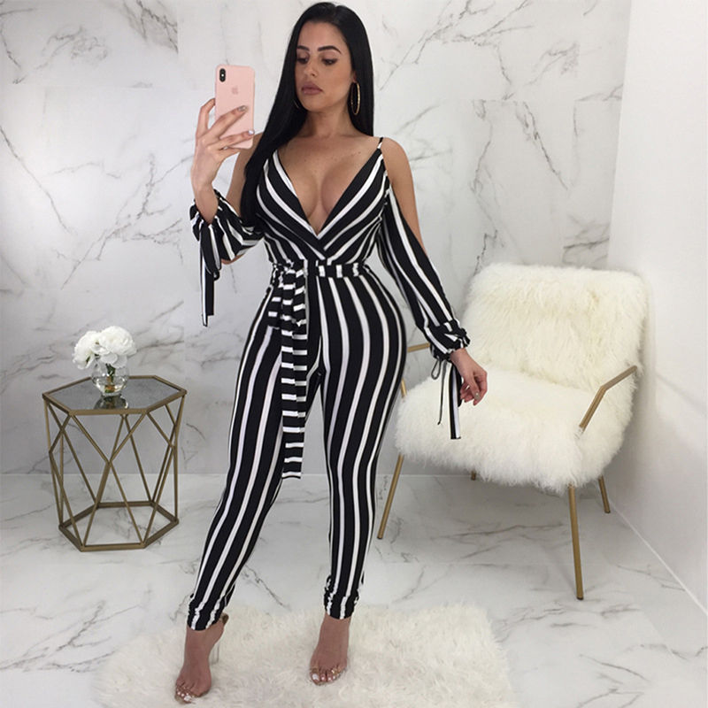 Striped Long Rompers   Jumpsuits   Backless Women Sexy Deep V Neck Split Long Sleeve Cold Shoulder Bodycon Long Pants Overalls