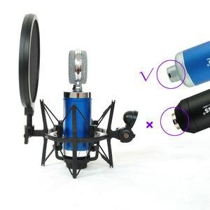 Image 4 - Sh 100 venda quente microfone microfone profissional montagem de choque com tela de filtro protetor pop para microfone de rosca longa