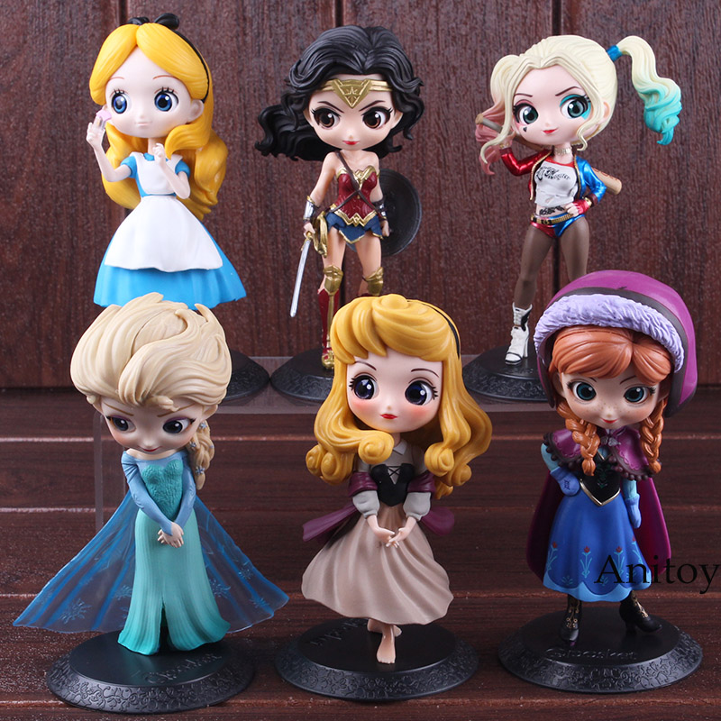 Q Posket Characters Princess Aurora Alice Wonder Woman Harley Quinn Anna Elsa Doll PVC QPosket Princess Girl Figure Toys Dolls 8 pcs set queen princess cinderella elsa anna little mermaid snow white alice princess pvc figures toys children gifts
