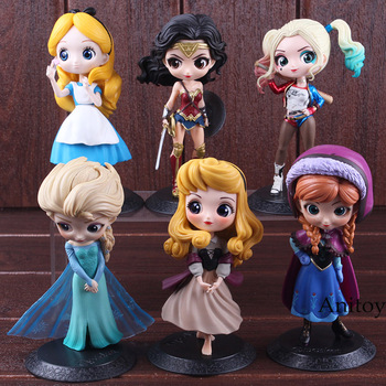 Q Posket Characters Princess Aurora Alice Wonder Woman Harley Quinn Anna Elsa Doll PVC QPosket Princess Girl Figure Toys Dolls