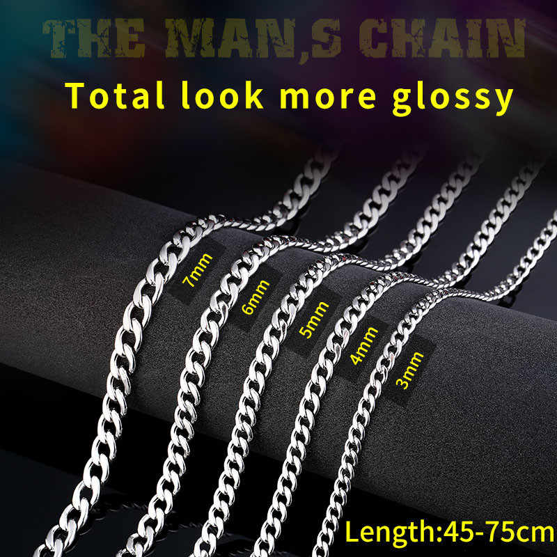 Beier 316L stainless steel trendy chain width 3mm/4mm/5mm/6MM necklace boy man Domineering personality HIPHOP Jewelry LBN1025