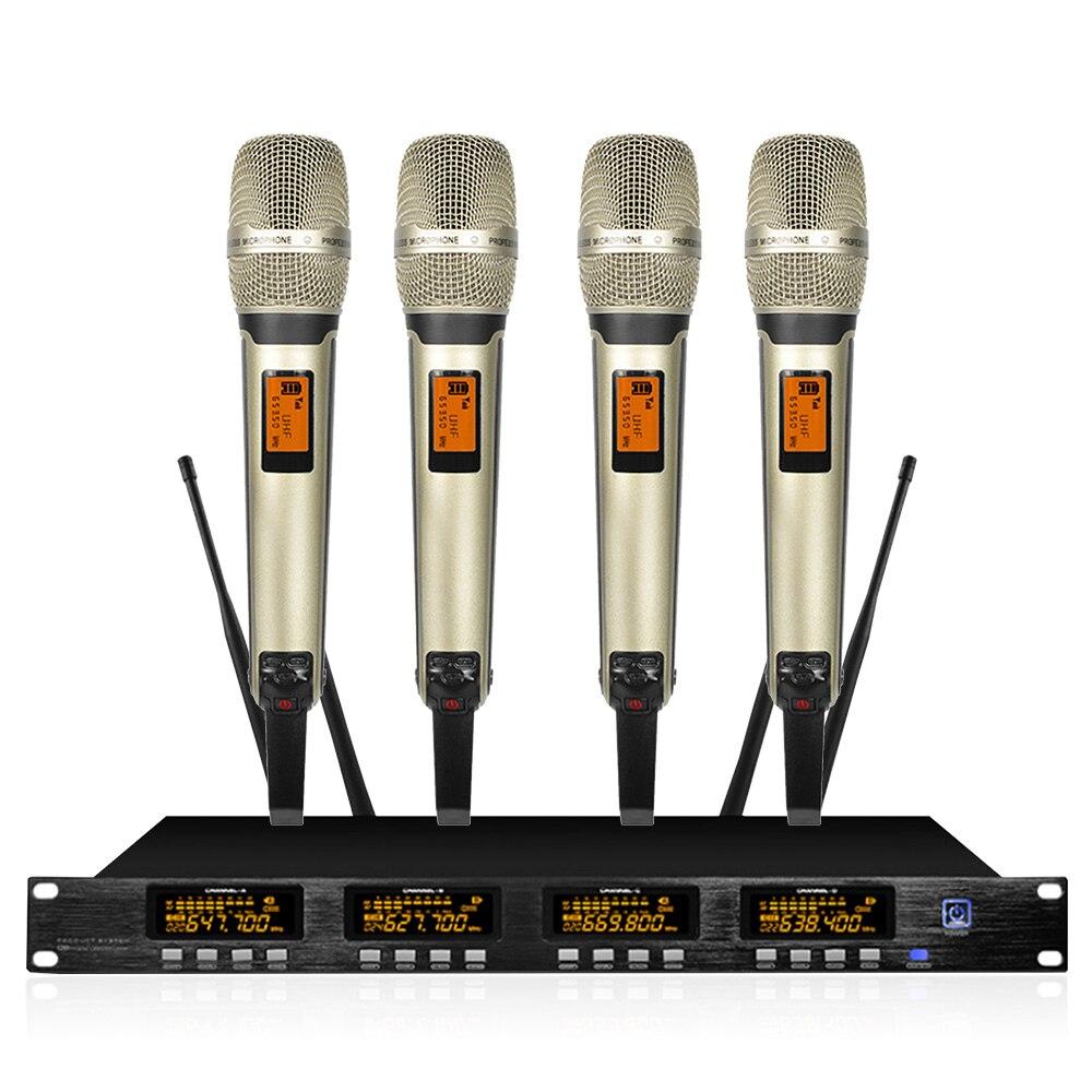 Fréquence réglable!! Système de microphone sans fil UHF avec microphone émetteur de poche pour fête d'église de scène