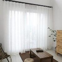 モーデン白窓のカーテンチュールコットンリネン治療リビングルームベッドルームホームデコレーション