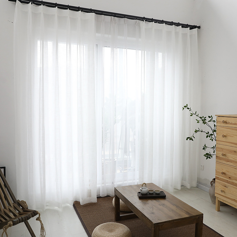 Morden White Window Curtains Tulle Cotton Linen Treatment For Living Room Bedroom Home Decoration