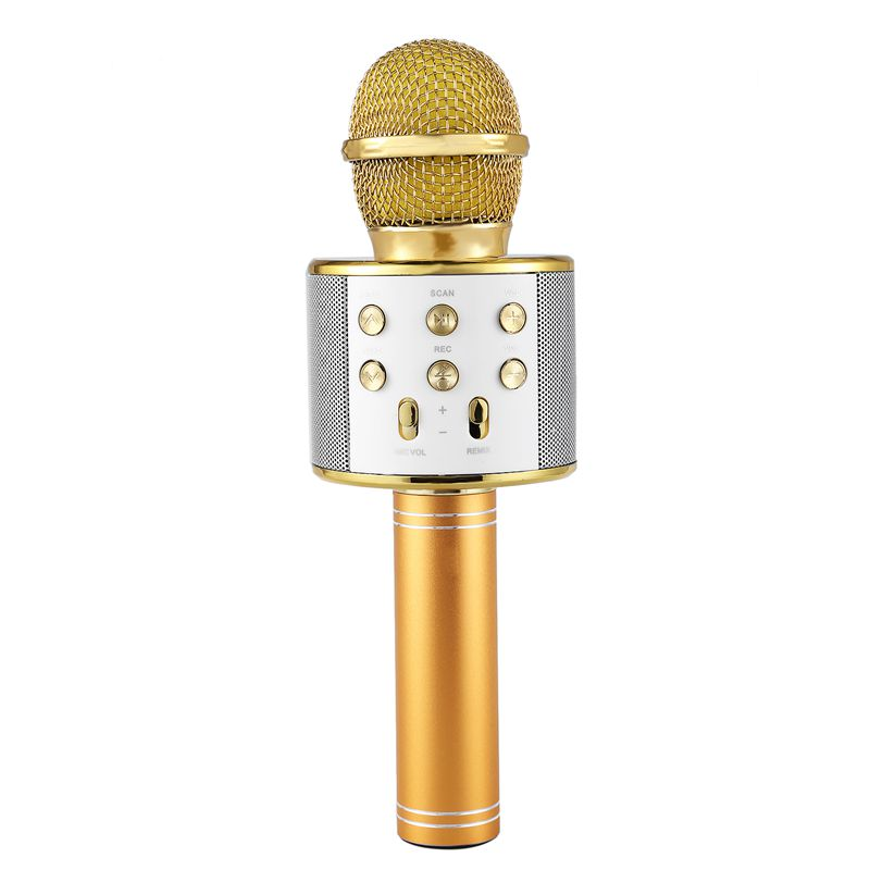 Wireless Karaoke Microphone Portable Bluetooth Mini Home KTV For Music Playing And Singing Speaker Player Selfie PHONE PC Gold