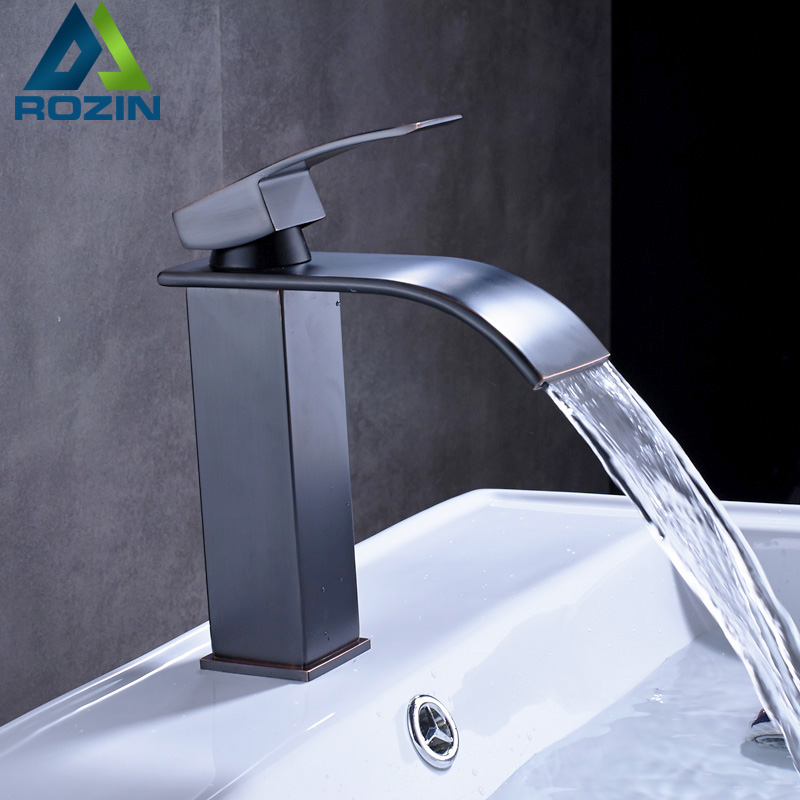 Single Lever Waterfall Bathroom Basin Sink Faucet Deck Mounted Mixer Water Tap with Hot and Cold Water Crane black led light waterfall deck mounted dual handles bathroom basin faucet tap with hot cold water glass spout
