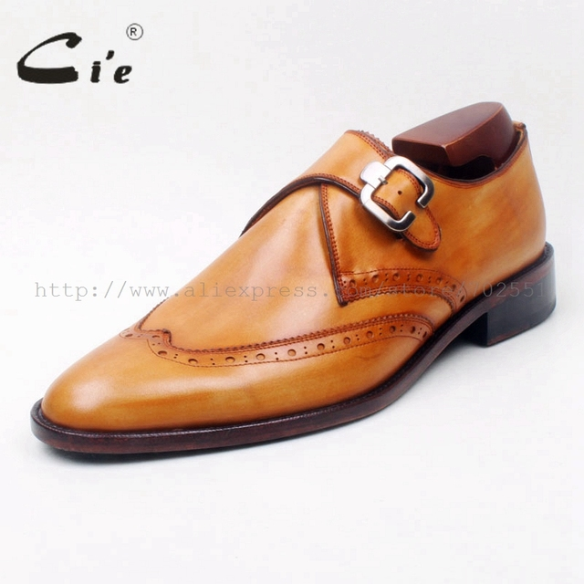 cie Round Toe Wing-Tips Single Monk Straps Hand-Painted  Brown 100%Genuine Calf Leather Breathable Bottom Outsole Men ShoeMS129