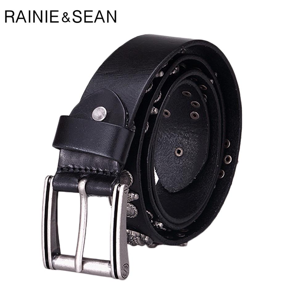 RAINIE SEAN Genuine Leather Belts For Men Skull Rock Black Pin Buckle Belt Male Real Leather Cowhide Italian Brand Square Belts