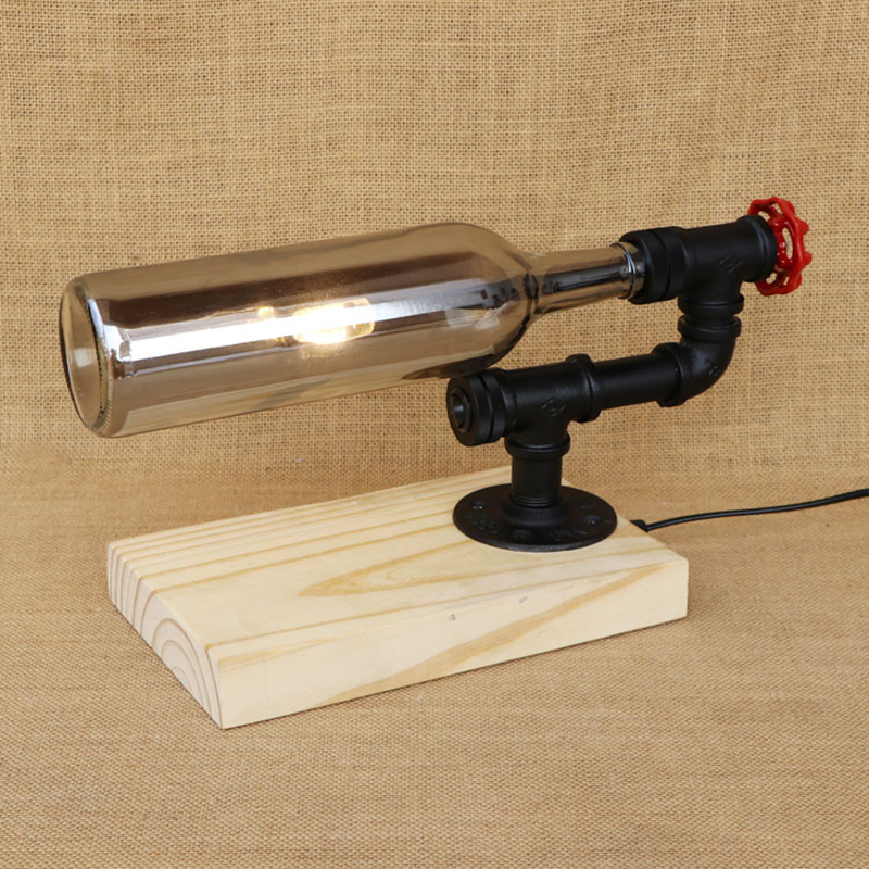 Modern LED Bottle lampshade desk light with switch wood base tabel light include G4 bulb for bedroom bedside office study 220V g4 led bulb