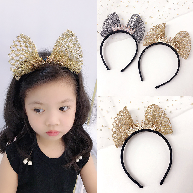 Korea lovely  Star Big Bow Hair Accessories For Girls High Quality Band Princess Headband Yarn Weaving Hairbands