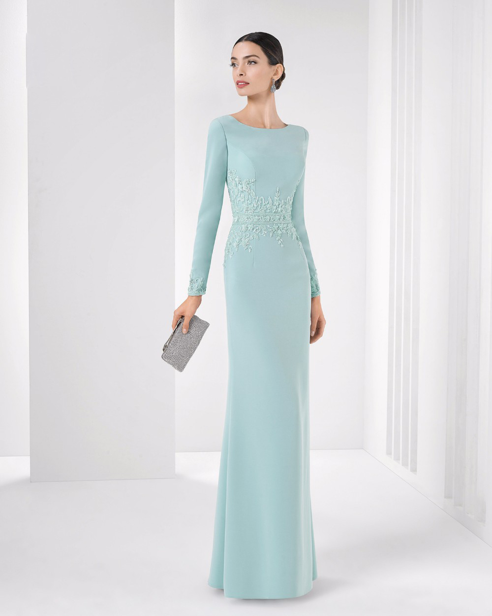 muslim blue evening dresses 2017 long sleeve prom gown crystal ...