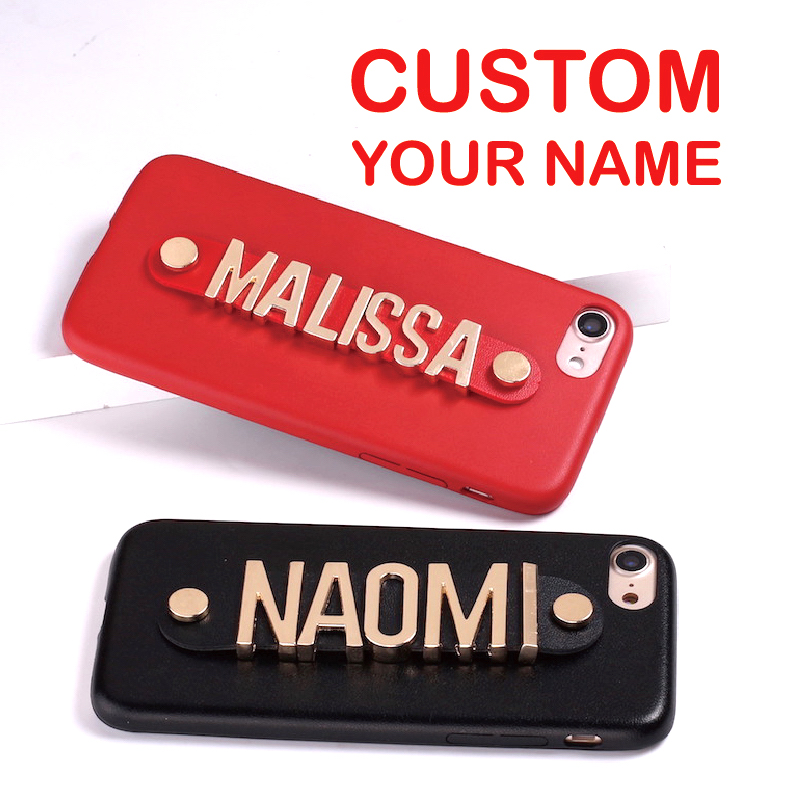 For iPhone X 6 6S XS Max 7 7Plus 8 8Plus 5 Phone Case Real Leather Gold Letters Metal Luxury Bold Custom Personalized Name Text
