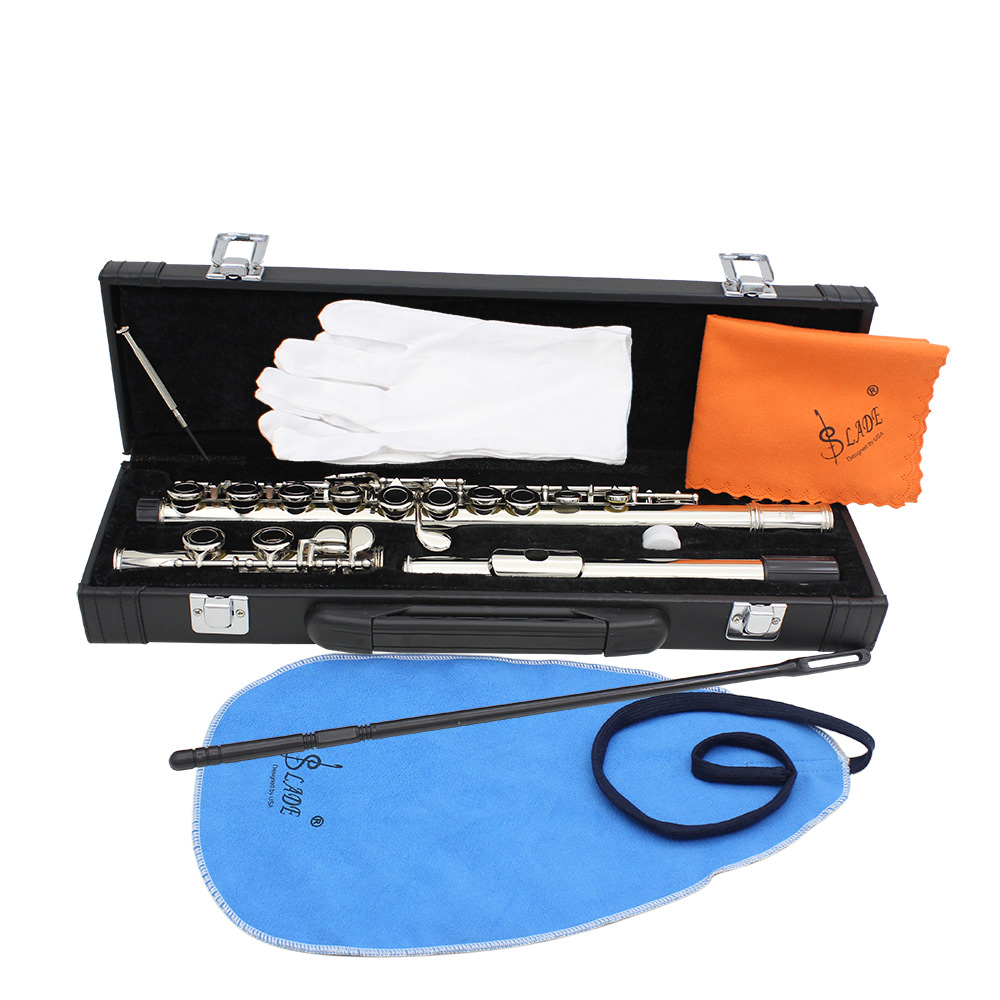 16 Holes C Key Cupronickel Plated Silver Flute with Cleaning Cloth Stick Gloves Screwdriver Case 7