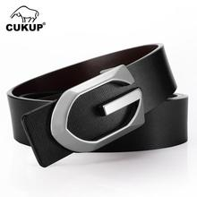 CUKUP Mens Quality Unique Cow Genuine Leather Male Black Letter Smooth Buckle Both Sided Belt for Men Accessories LUCK509