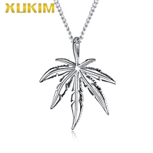 цена на PO421-S Xukim Jewelry 2019 New Design Silver Maple Leaf Pendant with Chain Necklace Set