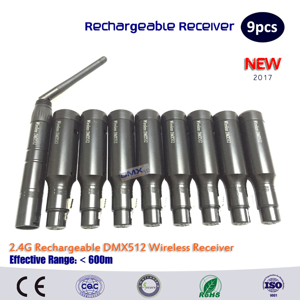 DHL Free shipping hot sell 9pcs lot 2 4G Wireless DMX512 Rechargeable Built in Battery Receiver