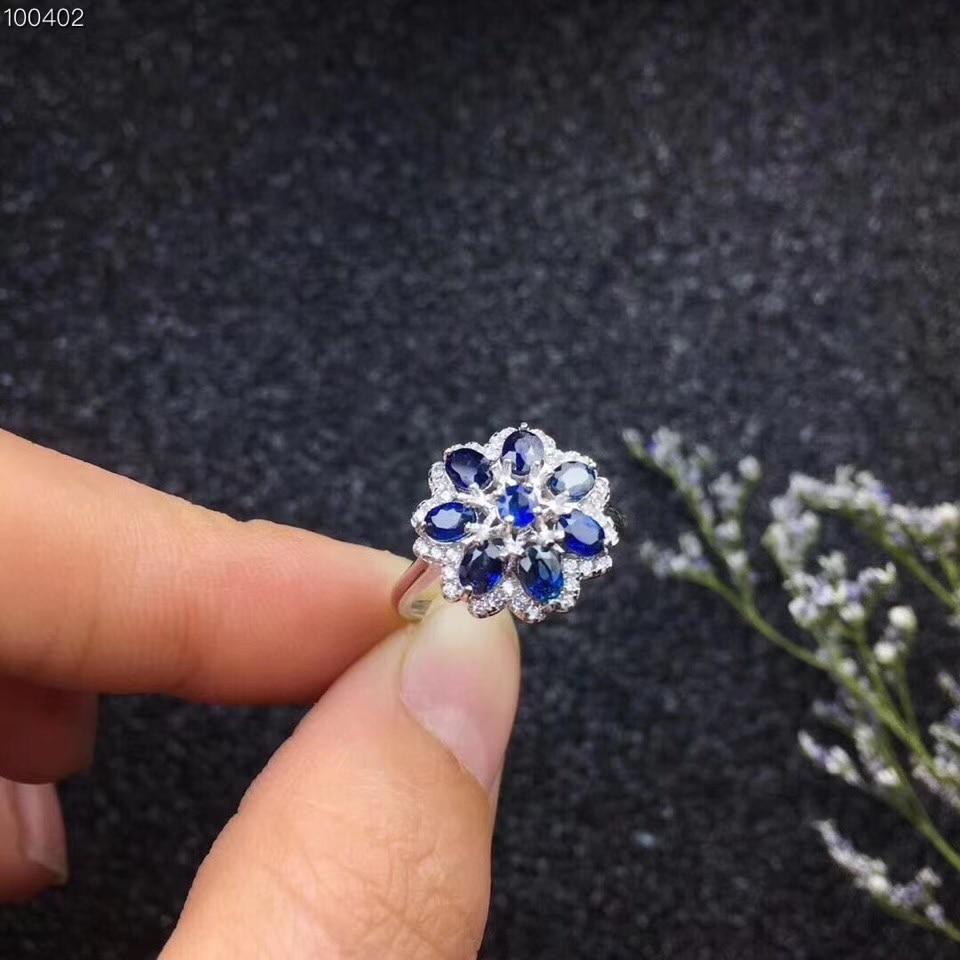 Natural blue sapphire gem Ring Natural gemstone ring S925 silver Luxurious big Flower Sun flower women girl gift party Jewelry недорого