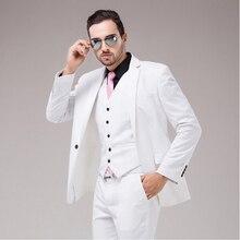 White Luxury Mens Slim Fit Suit Single Breasted Business Men Wedding Groomsmen Tuxedo 3 Pieces Suits Set Jacket Vest Pants