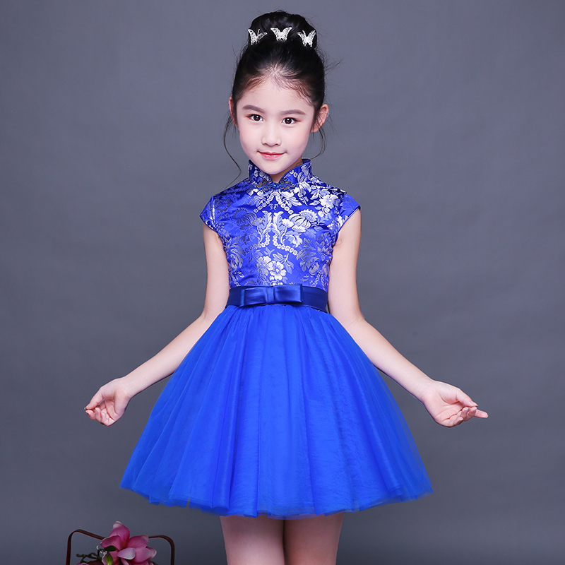 2017 autumn chinese style girl dress cotton short sleeve chinese cheongsam for kids baby girls qipao girls clothes dress coat traditional chinese style qipao full sleeve cheongsam costume party dress quilted princess dress cotton kids clothing