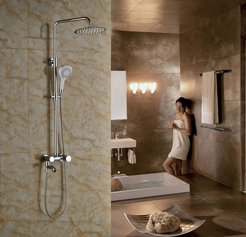 ̀ •́ Wall Mounted Bathroom 10 Shower Faucet Chrome Polished Bathtub ...