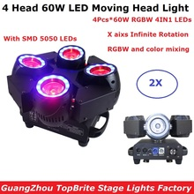 Free Shipping 4X60W RGBW 4IN1 LED Moving Head Beam Lights Professional Stage Dj Lighting Equipments DMX Disco Dj Shows Projector lyre beam 7x12w rgbw 4in1 led beam dmx stage moving head lights for dj