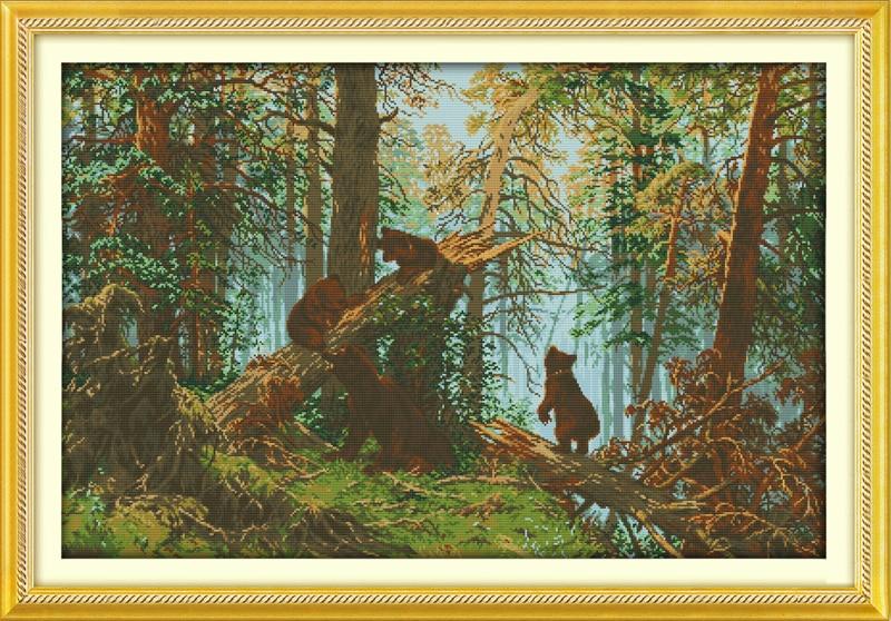 La mañana del bosque de pinos Contado de punto de cruz 11CT Impreso - Artes, artesanía y costura